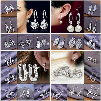 Women/Lady Soild 925Sterling Silver Earring Hoop Dangle Stud Ear Earings Jewelry