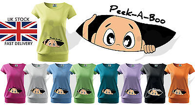 Maternity Pregnancy Funny T-shirt Top Baby Shower PEEK-A-BOO Gift Peeking Boy