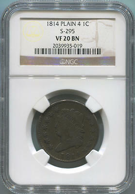 1814 Plain 4 Classic Head Large Cent. S-295 NGC VF20 Brown.