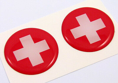 "Switzerland swiss flag Round domed decal 2 emblem Car bike stickers 1.45"" PAIR"