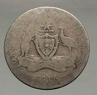 Australia & Oceania 1912 Australia 1 Shilling Antique Silver Coin King George V Coat-of-arms I57081