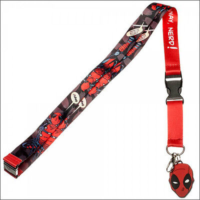 Deadpool Mask Marvel Comics Lanyard Necklace ID Holder Keychain Sticker LICENSED