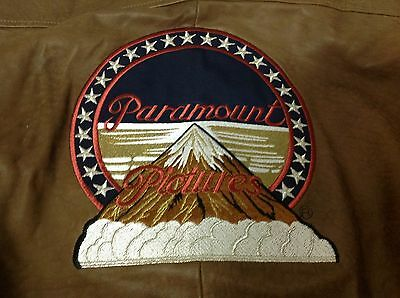 BROWN LEATHER Paramount Pictures Studios Movie Jacket with Mountain patch XL IX