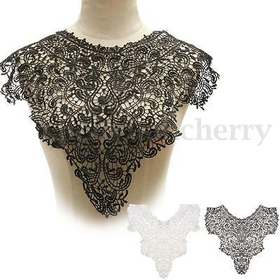 White Black Fabric Venice Floral Bodice Collar Lace Sewing Trim Applique Craft