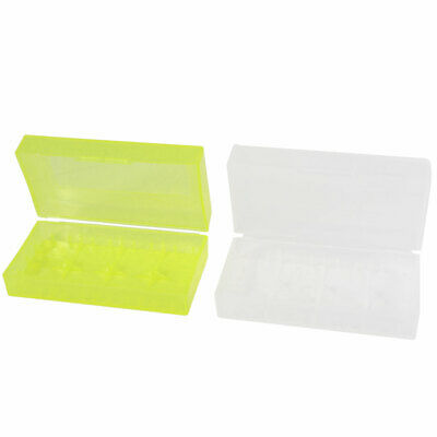 2 Pcs Clear Yellow Plastic Case Storage Box for 18670 18650 CR123A Batteries
