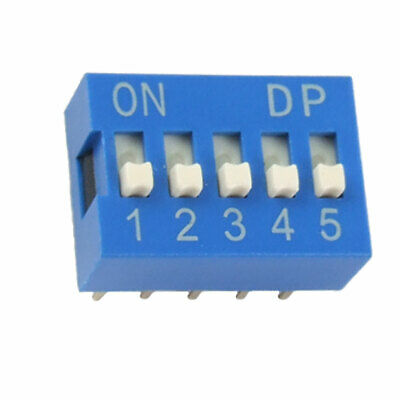 10 Pcs 2.54mm Pitch 5 Position Slide Type DIP Switch Blue