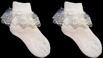 Baby Goods  Baby Lace Socks - White Color - Sizes: S-M-L One Pair  (00011R  ^ )
