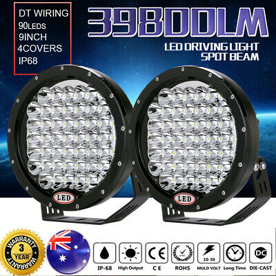 9inch 99999W Cree Round Spot LED Driving Lights Spotlights Lamp Offroad 4WD 4X4