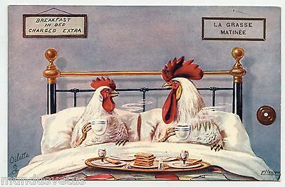 ELLAM . La grasse matinée . Breakfast in bed . Poule. Coq . Hen and Rooster