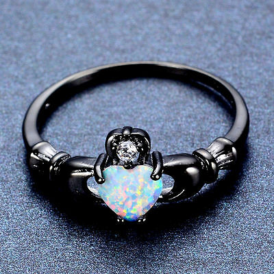 Black Gold Filled Claddagh Heart Ring With White Heart Shaped Fire Opal