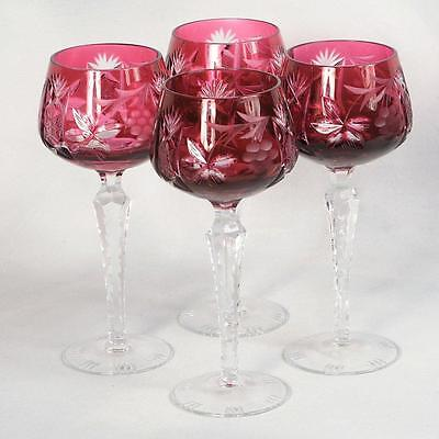 """Set Of 4 Nachtmann """"traube"""" Cut To Clear Wine Goblets - Cranberry/red 8"""" High"""