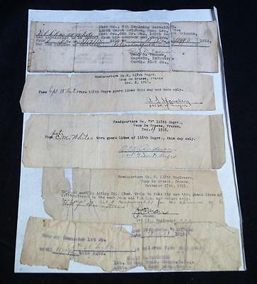 Lot Of 5 Wwi U.s. Army Military Permission Passes 1918-19 France & Camp Lee Va
