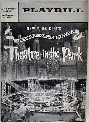 Playbill Theater In The Park New York City Hudson Celebration 1959 Vintage
