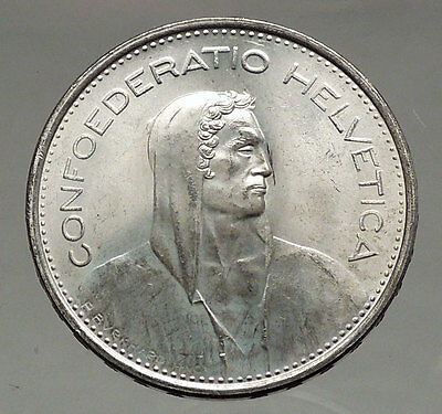 1966 Switzerland Founding HERO WILLIAM TELL 5 Francs European Silver Coin i56741