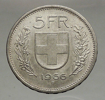 1966 Switzerland Founding HERO WILLIAM TELL 5 Francs European Silver Coin i56742