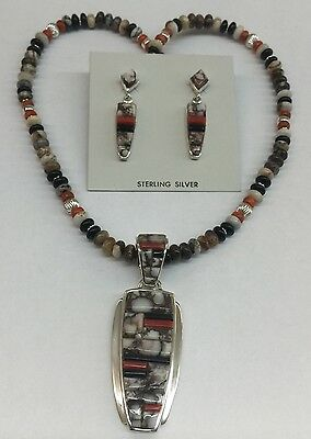 Native American Navajo Indian Sterling Silver Wild Horse  Necklace Earrings Set