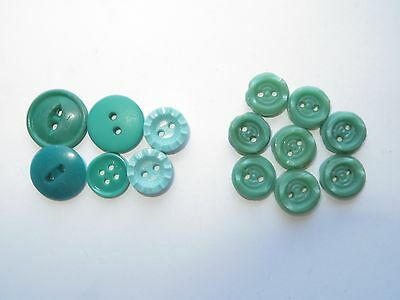 1930s 40s Vintage Small Assorted Green Craft Lingerie Dress Buttons-10mm