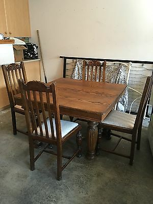 Antique oak table and 4 chair set