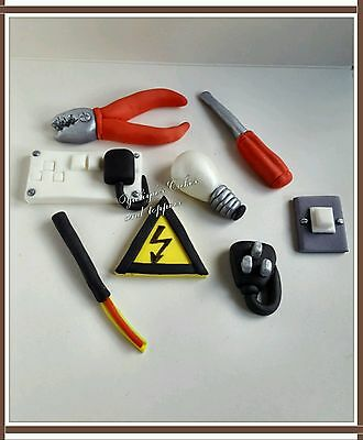 Edible electrician,diy  cake/cupcakes toppers,sugarpaste decorations,bulb,switch