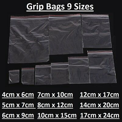 Small Clear Plastic Poly Grip Self Seal Resealable Zip Lock Bags Jewellery