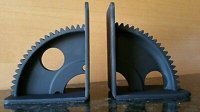 Industrial Gears Iron Mounted Book Ends Pair