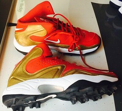 100% authentic d58e2 2caea Nike Merciless Pro Shark Football 3 4 Cleats 13 Red Gold 49ers 534773 628