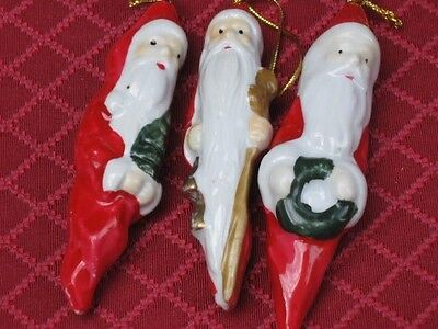 Vintage Lot of 3 Santa Claus Christmas Figural Ornaments Nice Collectibles