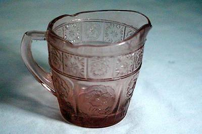 Jeanette Glass Circa 1937 Doric And Pansy Pink Pretty Polly Child's Set Creamer