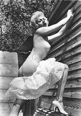Original Vintage French 1940s-60s Nude Chrome Photo Card- Blond- Skirt- Butt