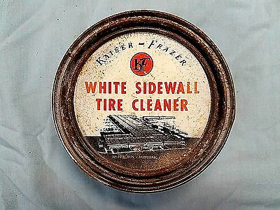 VINTAGE KAISER FRAZER White Sidewall Tire Cleaner Tin (Full) Never opened.