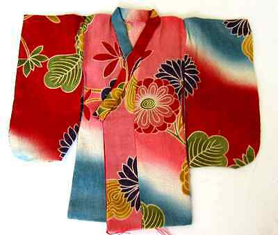 Japanese Handsewn Cotton Doll Kimono - Traditional Japanese Flowers