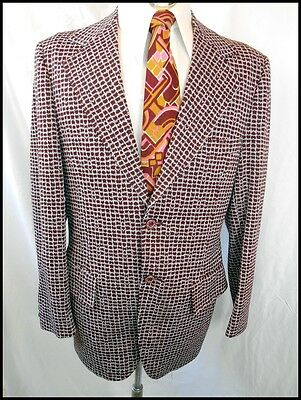 Vintage 60s 70s Burgundy Patterned Polyester USA Feinberg's Jacket 40 Anchorman