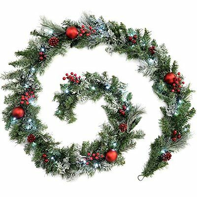 WeRChristmas 9 ft Frosted Decorated Pre-Lit Garland Christmas Decoration with 40