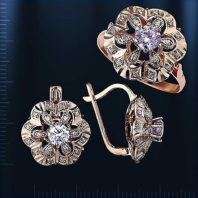 Russian solid rose/white gold 585 /14k CZs earrings ring set NWT RUSSIAN STYLE!!