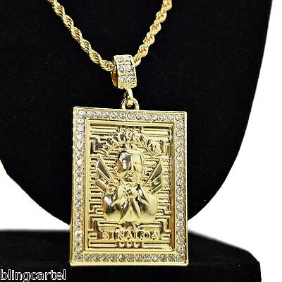 "Jesus Malverde Iced-Out Pendant  Chain 14k Gold Plated 30"" x 3MM Rope Necklace"