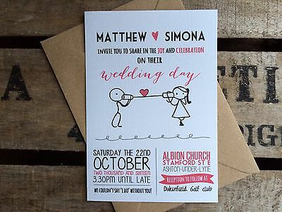 50 Personalised Wedding Invitations Handmade Rustic Vintage with Envelopes