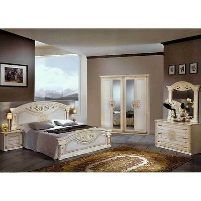 Roma Italian Bedroom Set High Gloss Cream With Italian Bedroom Suite