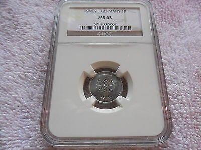 1948 A East Germany 1 Pfenning - Nice NGC MS 63
