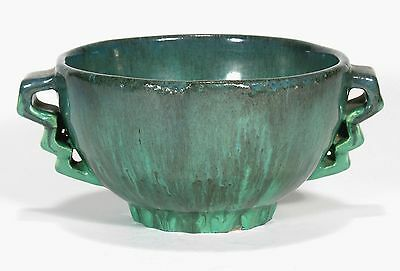 Fulper Pottery arts & crafts semi matte blue green flambe Art Deco 2 handle bowl