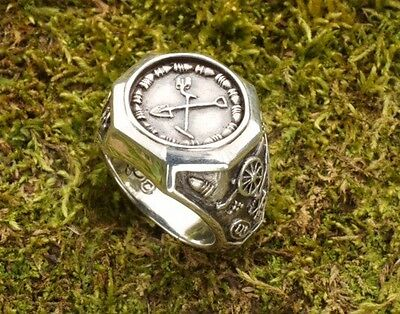 Sterling Silver Men's Metal Detector  / Treasure Hunting Ring Confederate Buckle