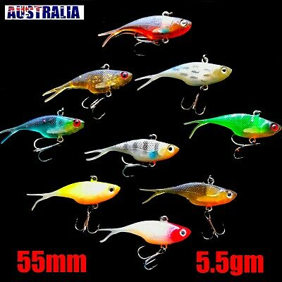 Soft Plastic Vibe Fishing Lure Tackle  55mm vibes  flathead bream whiting lures