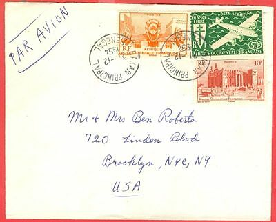 France Colony Senegal 3 diff stamp used on cover to USA 1954  gtc