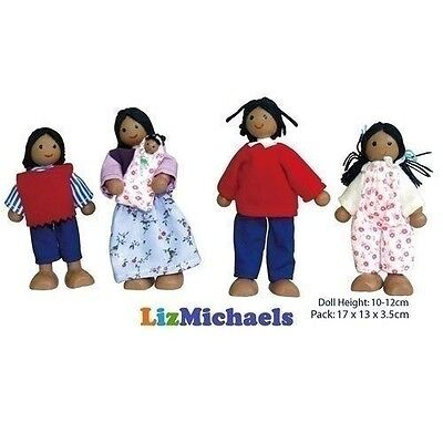 FUN FACTORY WOODEN DOLLS ETHNIC BLACK FAMILY OF 5 Poseable Kids Toy Pretend Play