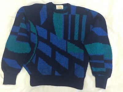 Original Vintage SLADE Blue Knit Jumper Sweater - Batwing Sleeves - Size Small