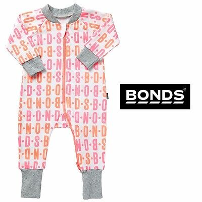 NWT Bonds Baby Girls Zippy Neon Pink Orange Wondersuit Size 0000-2 RRP $32.95
