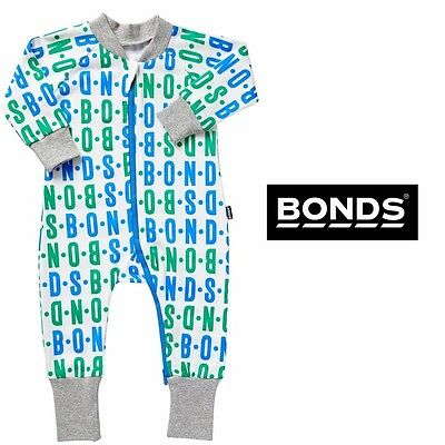 NWT Bonds Baby Boys Zippy White Blue Green Grey Wondersuit Size 00 - RRP $32.95