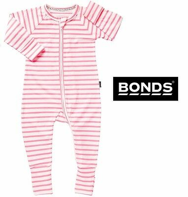 NWT Bonds Baby Girls Zippy Neon Pink Stripe Wondersuit Size 0000-2 RRP $24.95