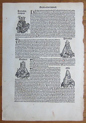 Incunable Leaf Schedel Liber Chronicorum Herod Pharisee - 1493
