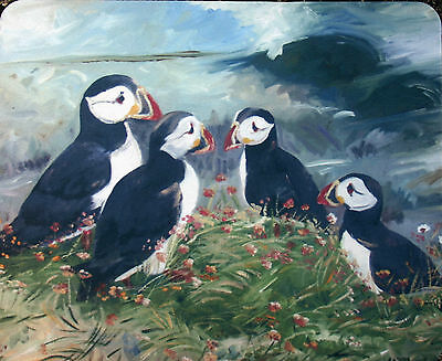 Puffin Sea Birds New Oil Painting Design Mouse Mat Sandra Coen Artist Print