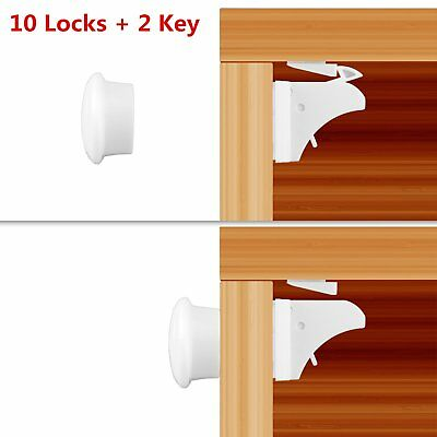 10X Magnetic Child Infant Baby Kids Drawer Door Cabinet Cupboard Safety Locks